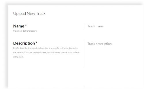 Screenshot of First part of Audio Buzz's upload track page