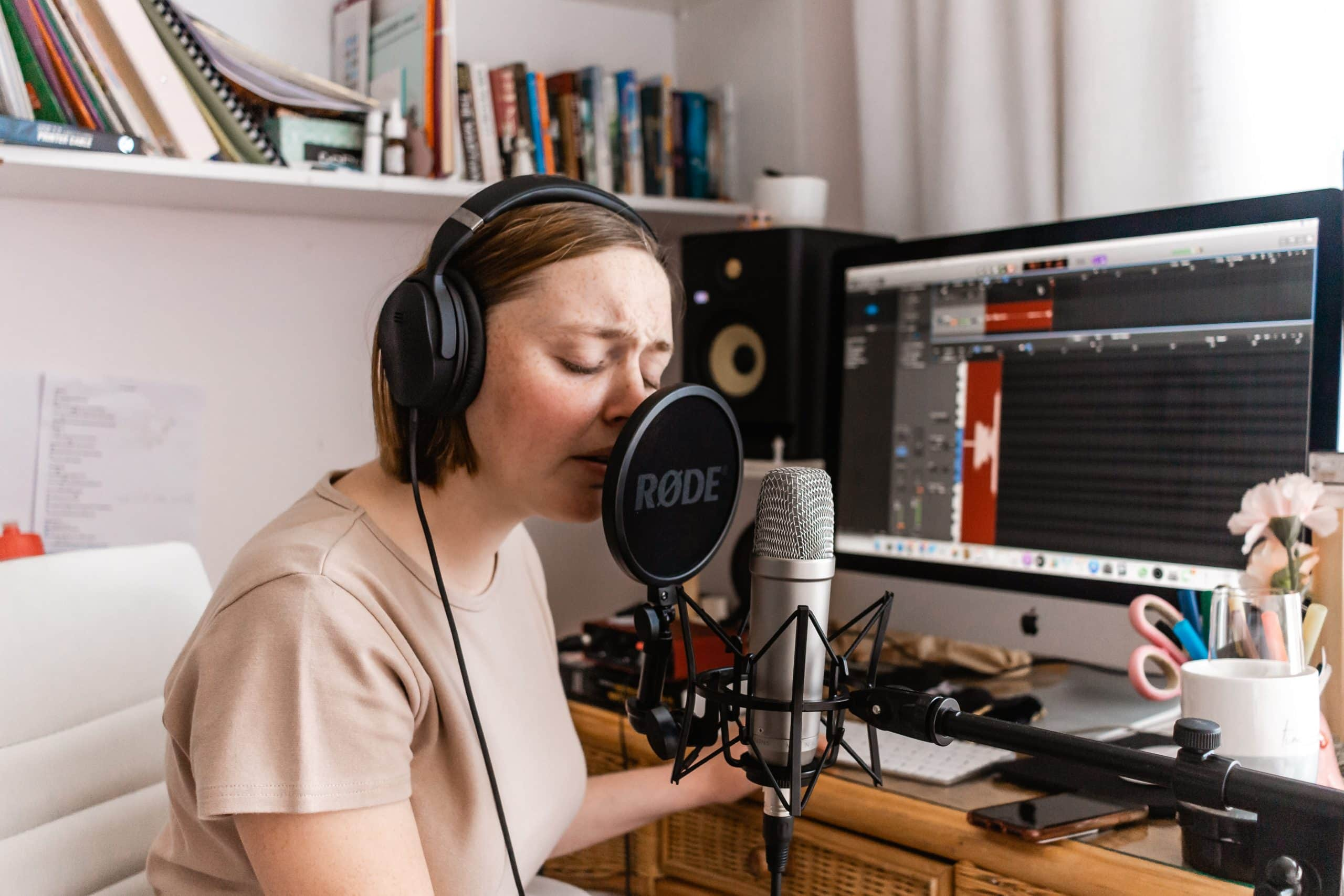 What to Look for in a Voiceover Artist - female voiceover talent recording